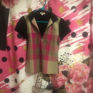 EUC PINK N BLACK BURBERRY POLO SHIRT